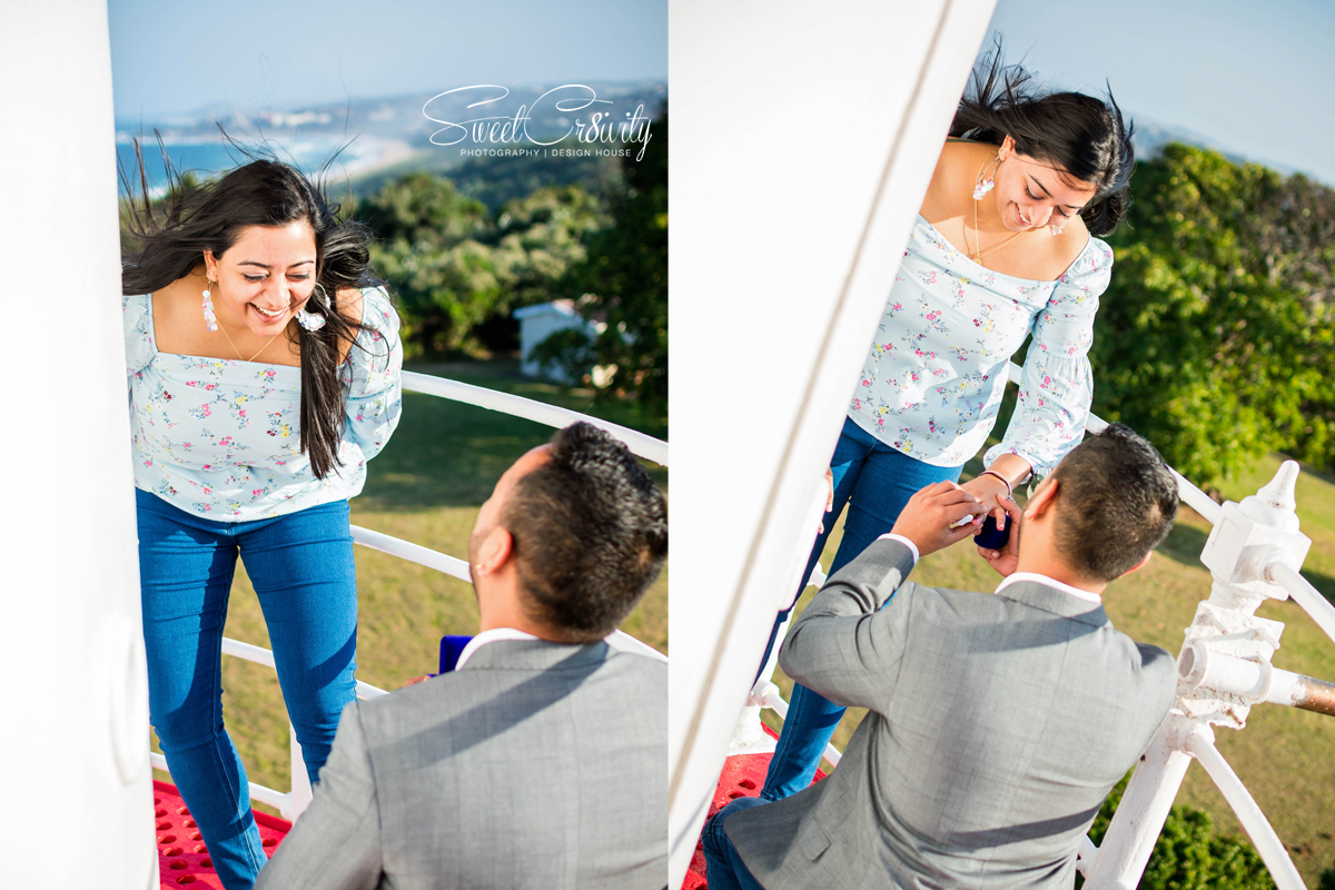 greenpoint lighthouse, sweetcr8ivity, proposal shoot, best durban photographers, young lovers, perspective, proposal shoot, elaine and aveen lutchman, wedding photographers durban, he asked, she said yes, diamond ring, sunset, golden hour, scottburgh, bubbles