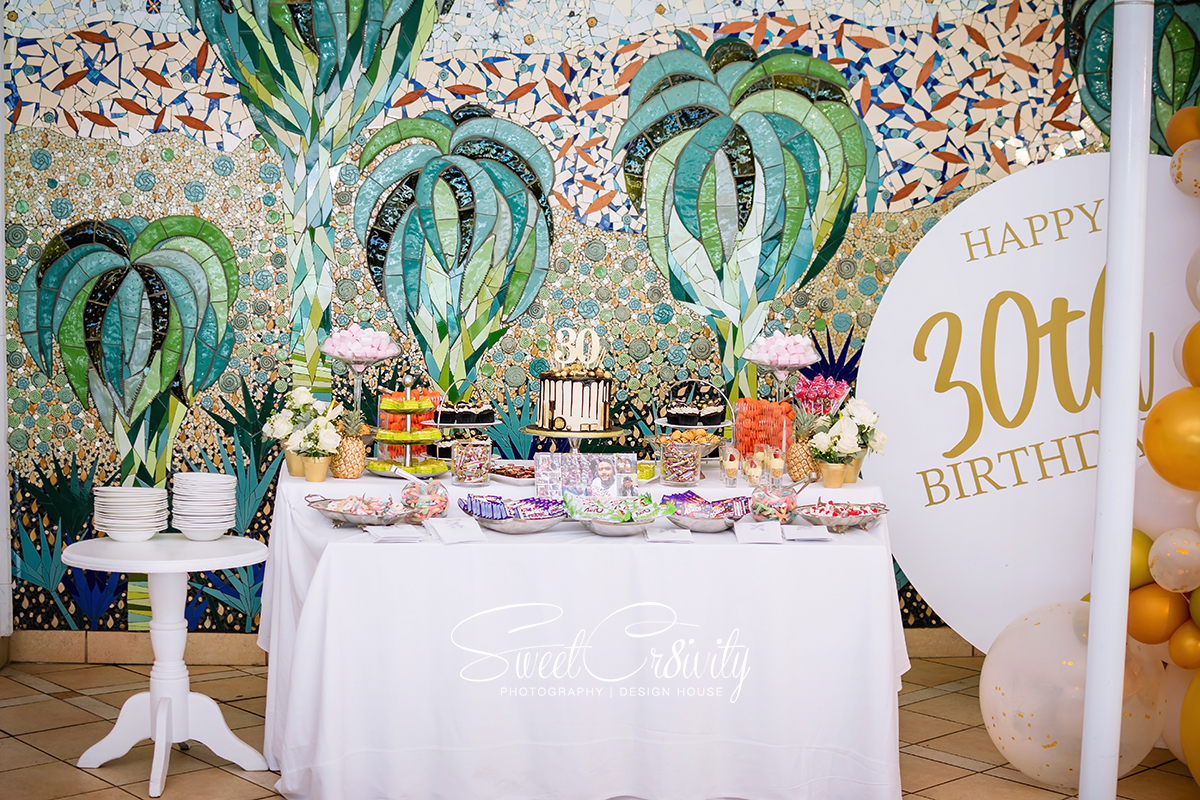 sweetcr8ivity,elaine and aveel lutchman, best durban photographers,30th birthday, beverly hills hotel, happy birthday, partytime, white and gold, this is 30, friends and family,food,